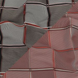 French Peat and Space Cherry Plaid Double Faced Jacquard Suiting