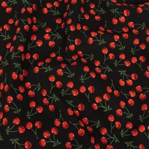 Black and Red Cherries Printed Stretch Cotton Denim