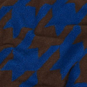 Limoges Blue and Brown Large-Scale Houndstooth Brushed Fuzzy Wool Knit