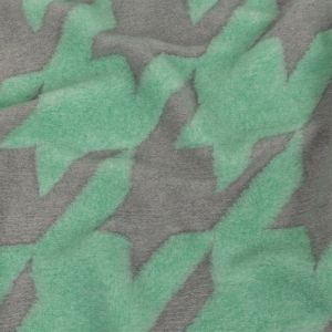 Mint and Gray Large-Scale Houndstooth Brushed Fuzzy Wool Knit
