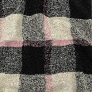 Pumice Stone, Black and Rose Shadow Plaid Boucled Wool Knit