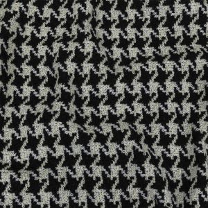Black, Off-White and Metallic Silver Houndstooth Tweed