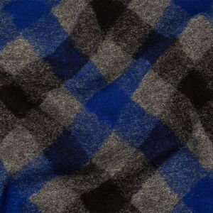 Cobalt, Black and Gray Argyle Fuzzy Wool Knit