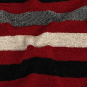 Red, Black and Charcoal Striped Fuzzy Wool Knit