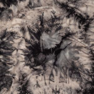 Black, Gray and White Jelly Fish Tie Dye Rayon Jersey