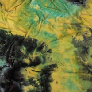 Yellow, Aqua and Black Splatter Tie Dye DTY Brushed Polyester Jersey