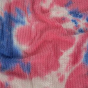 Pink, Blue and White Whisky Tie Dye Brushed Waffle Knit