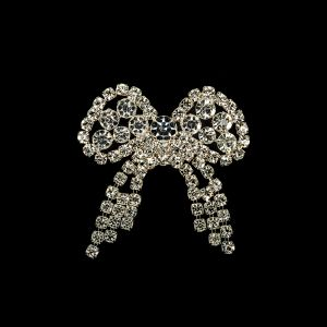 Vintage Czech Crystal Rhinestones and Silver Metal Bow Dress Ornament - 1.75