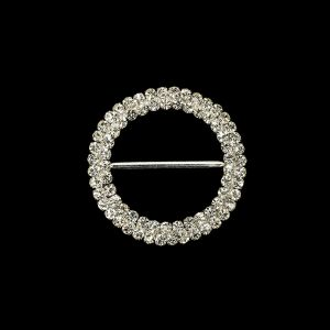 Vintage Two-Row Czech Crystal Rhinestones and Silver Metal Slider - 2.375