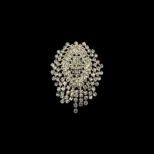 Vintage Czech Crystal Rhinestones and Silver Metal Abstract Ornament - 2.375