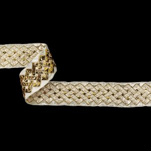 Vintage Ivory and Fleur de Lis Lurex and Rayon Blend Beaded Ribbon - 1.375