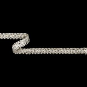 Vintage Ivory Gimp Braided Trim with Pearl Accents - 0.625
