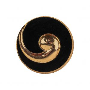 Vintage Gold and Black Swirl Glass Shank Back Coat Button - 40L/25.5mm