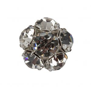 Vintage Crystal Rhinestones and Silver Metal Shank Back Button - 40L/25.5mm
