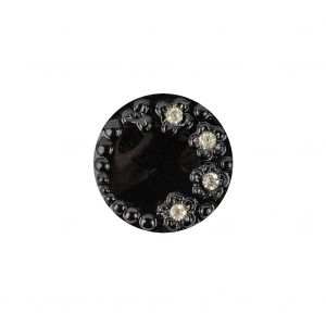 Vintage Shiny Black and Crystal Rhinestones Floral Glass Button - 28L/18mm