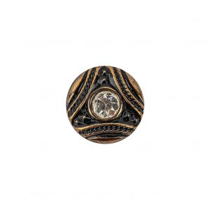 Vintage Antique Gold and Black Shank Back Glass Button with Rhinestone Core - 22L/14mm
