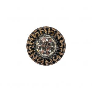 Vintage Antique Gold and Black Classical Shank Back Glass Button with Rhinestone Core - 28L/18mm