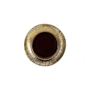 Vintage Ruby and Gilt Shank Back Metal Button - 32L/20mm