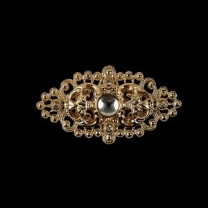 Vintage Czech Crystal Rhinestones and Gold Open Framework Brooch with Cabochon Core - 1.1875