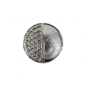 Vintage Silver Textured Shank Back Metal Button with Clustered Crystal Rhinestones - 32L/20mm
