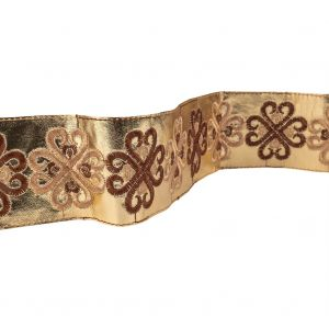 Vintage English Beige and Brown Embroidered Gold Metallic Vinyl Ribbon - 2.75