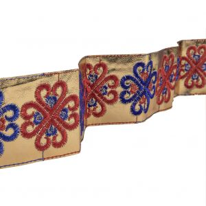 Vintage English Navy and Red Embroidered Gold Metallic Vinyl Ribbon - 2.75