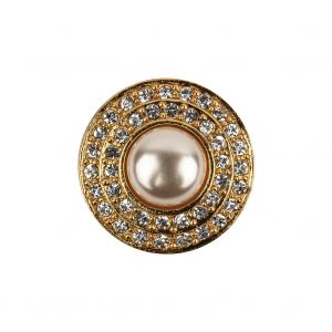 Vintage Swarovski Two-Row Crystal Rhinestones and Gold Metal Shank Button with Pearl Finished Center - 35L/22mm