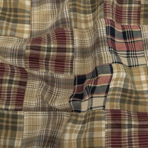 Burnt Olive, Red and Blueberry Plaid Patchwork Cotton Madras