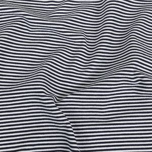 Parisian Night and White Candy Striped Stretch French Terry