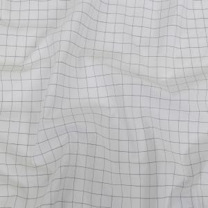 Italian White and Meteorite Gridded Checks Stretch Cotton Shirting