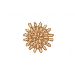 Vintage Natural and Chestnut Wood Beaded Abstract Floral Applique - 3.5 x 3.5