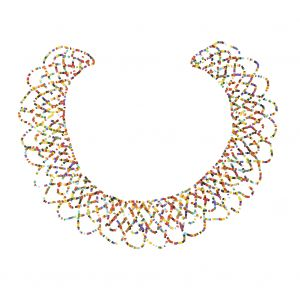 Vintage Multicolored Beaded Abstract Neck Applique - 9 x 9.5