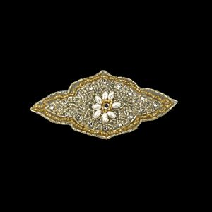 Vintage Gold Beaded and Rhinestone Floral Diamond Shaped Applique - 5.75