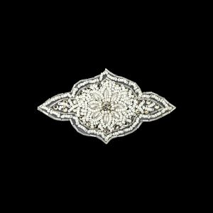 Vintage White Beaded and Rhinestone Floral Diamond Shaped Applique - 5.75