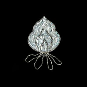 Vintage Crystal Iris Sequins and Silver-lined Beaded Abstract Applique - 5.75