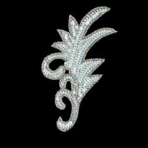 Vintage Crystal Iris Sequins and Silver-lined Beaded Foilage Applique - 7.75