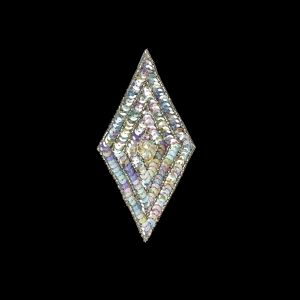 Vintage Crystal Confetti Sequins and Silver-lined Beaded Diamond Applique - 5