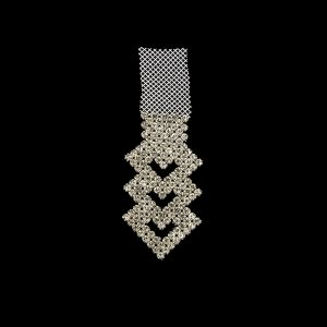 Vintage Czech Crystals on White Mesh Heart Ornament - 6