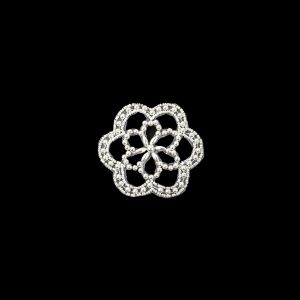 Vintage Iridescent White and Pearl Beaded Floral Applique - 3
