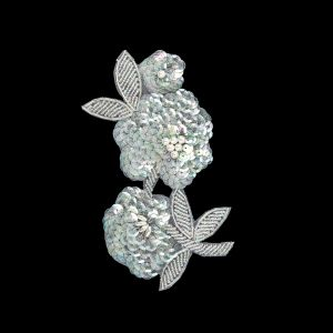 Vintage Pearl, Crystal Iris Sequins and Beaded Floral Applique - 6