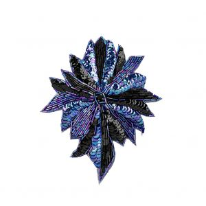 Vintage Iridescent Blue and Black Sequins and Beaded Floral Applique with Jet Rhinestone Core - 6.5