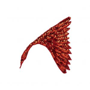 Vintage Fancy Red Sequins and Beaded Fan Applique - 6.25