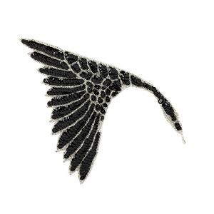 Vintage Fancy Black Sequins and Silver-lined Beaded Fan Applique - 6.25