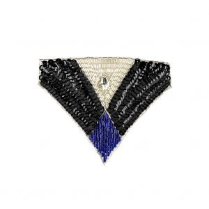 Vintage Black Sequins and Silver and Blue Beaded Applique with Diamond-shaped Crystal Center - 4.375