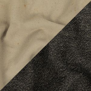 Jet Black and Oyster Gray Basketwoven Wool Double Cloth