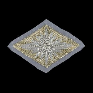 Vintage Silver Sequins, Crystal Iris and Silver-lined Beaded Diamond Applique - 8.25