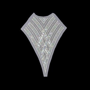 Vintage Translucent Multicolored Sequins and Silver-lined Zig-Zag Bugle Beaded Sheer Panel Applique - 13.5 x 9.375