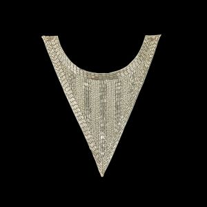Vintage Silver-lined Chop and Bugle Beaded Triangular Collar Applique - 10