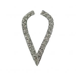 Vintage Silver Sequins and Beaded Pointy Collar Applique - 15