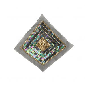 Vintage Black Iris, Multicolored and Gold Beaded and Sequins Diamond Applique - 5.25 x 5.25